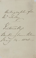 Autographs:Statesmen, Queen Victoria, Monarch of the United Kingdom. Autograph NoteSigned. Very good....
