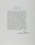 Autographs:Authors, William Styron, American Writer. Typed Excerpt Signed fromSophie's Choice. Overall fine....