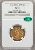 Liberty Half Eagles, 1846 $5 Small Date AU58 NGC. CAC....