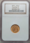 Liberty Quarter Eagles: , 1855 $2 1/2 AU58 NGC. NGC Census: (115/210). PCGS Population(35/97). Mintage: 235,480. Numismedia Wsl. Price for problem f...