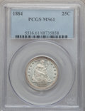 Seated Quarters: , 1884 25C MS61 PCGS. PCGS Population (3/80). NGC Census: (3/71).Mintage: 8,000. Numismedia Wsl. Price for problem free NGC/...