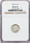 Barber Dimes, 1897-S 10C MS62 Prooflike NGC. NGC Census: (4/36). PCGS Population(12/71). Mintage: 1,342,844. Numismedia Wsl. Price for p...