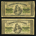 Canadian Currency: , DC-1c 25¢ 1870 Two Examples.. ... (Total: 2 notes)