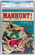 Golden Age (1938-1955):Crime, Manhunt #1 (Magazine Enterprises, 1947) CGC VF 8.0 Off-white pages....