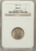 Liberty Nickels: , 1897 5C MS62 NGC. NGC Census: (60/314). PCGS Population (71/430).Mintage: 20,428,736. Numismedia Wsl. Price for problem fr...