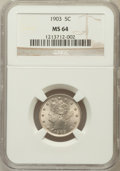Liberty Nickels: , 1903 5C MS64 NGC. NGC Census: (282/233). PCGS Population (427/278).Mintage: 28,006,724. Numismedia Wsl. Price for problem ...