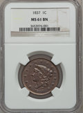 Large Cents, 1837 1C Plain Cords, Medium Letters MS61 Brown NGC. PCGS Population(0/72)....
