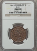 Large Cents: , 1846 1C Medium Date MS61 Brown NGC. N-11. NGC Census: (0/0). PCGSPopulation (0/9). ...