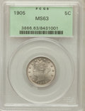 Liberty Nickels: , 1905 5C MS63 PCGS. PCGS Population (239/715). NGC Census:(166/472). Mintage: 29,827,276. Numismedia Wsl. Price forproblem...
