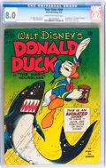 Golden Age (1938-1955):Cartoon Character, Four Color #291 Donald Duck (Dell, 1950) CGC VF 8.0 Cream tooff-white pages....