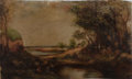 Books:Prints & Leaves, [Painting]. Original Oil on Canvas. Ca. 19th century. Approx. 7 x12 inches. Very good....
