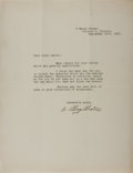 Autographs:Military Figures, Arthur Roy Brown, RAF Officer and World War I Flying Ace. Typed Letter Signed. Very good. Credited with downing Manfred vo...