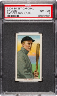 1909-11 T206 Ty Cobb Bat Off Shoulder PSA NM-MT 8