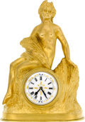 Timepieces:Clocks, French L. Brunswick Small Gilt Clock With Fancy Dial. ...