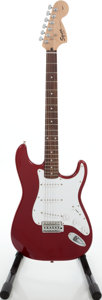 Musical Instruments:Electric Guitars, 2005 Fender Squire Affinity Stratocaster Candy Apple Red Solid BodyElectric Guitar, Serial # IC050733768....