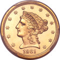 Liberty Quarter Eagles, 1861 $2 1/2 New Reverse, Type Two MS65 PCGS. CAC....