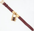 Luxury Accessories:Accessories, Hermes Gold Plated Kelly Watch with Rouge H Chevre Leather Strap....