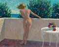 Mainstream Illustration, ARTHUR SARON SARNOFF (American, 1912-2000). Nude Blonde onBalcony. Oil on canvas. 24 x 30 in.. Signed lower left. ...
