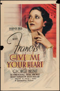 "Movie Posters:Romance, Give Me Your Heart (Warner Brothers, 1936). One Sheet (27"" X 41""). Romance.. ..."