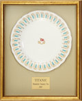 "Movie/TV Memorabilia:Props, A Prop Dinner Plate from ""Titanic.""..."