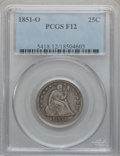 Seated Quarters: , 1851-O 25C Fine 12 PCGS. PCGS Population (5/38). NGC Census:(2/20). Mintage: 88,000. Numismedia Wsl. Price for problem fre...