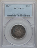 Seated Quarters: , 1867 25C Fine 15 PCGS. PCGS Population (3/51). NGC Census: (0/17).Mintage: 20,000. Numismedia Wsl. Price for problem free ...
