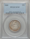 Seated Quarters: , 1868 25C XF45 PCGS. PCGS Population (2/40). NGC Census: (1/23).Mintage: 29,400. Numismedia Wsl. Price for problem free NGC...