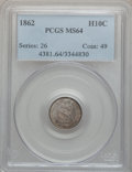 Seated Half Dimes: , 1862 H10C MS64 PCGS. PCGS Population (126/154). NGC Census:(164/157). Mintage: 1,492,550. Numismedia Wsl. Price for proble...