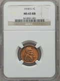 Lincoln Cents, 1918-S 1C MS65 Red and Brown NGC....