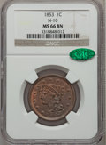 Large Cents, 1853 1C MS66 Brown NGC. CAC. N-10, R.1....