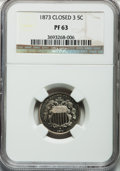 Proof Shield Nickels: , 1873 5C Closed 3 PR63 NGC. NGC Census: (49/257). PCGS Population(75/324). Mintage: 1,100. Numismedia Wsl. Price for proble...