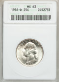Washington Quarters: , 1936-D 25C MS63 ANACS. NGC Census: (177/518). PCGS Population(300/1066). Mintage: 5,374,000. Numismedia Wsl. Price for pro...