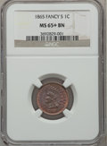 Indian Cents: , 1865 1C Fancy 5 MS65+ Brown NGC. NGC Census: (33/2). PCGSPopulation (6/0). Mintage: 35,429,288. Numismedia Wsl. Price for...