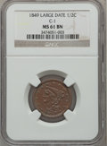 Half Cents: , 1849 1/2 C Large Date MS61 Brown NGC. C-1. NGC Census: (24/127).PCGS Population (6/105). Mintage: 39,864. Numismedia Wsl....