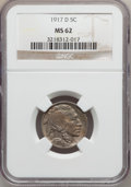Buffalo Nickels: , 1917-D 5C MS62 NGC. NGC Census: (93/389). PCGS Population (66/672).Mintage: 9,910,000. Numismedia Wsl. Price for problem f...