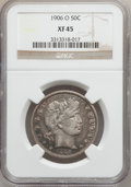 Barber Half Dollars: , 1906-O 50C XF45 NGC. NGC Census: (3/65). PCGS Population (11/98).Mintage: 2,446,000. Numismedia Wsl. Price for problem fre...