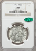 Barber Half Dollars, 1913-D 50C AU58 NGC. CAC. NGC Census: (44/144). PCGS Population(34/145). Mintage: 534,000. Numismedia Wsl. Price for probl...
