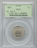 Shield Nickels: , 1867 5C No Rays MS64 PCGS. PCGS Population (220/79). NGC Census:(252/136). Mintage: 28,800,000. Numismedia Wsl. Price for ...