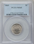 Shield Nickels: , 1869 5C MS65 PCGS. PCGS Population (56/11). NGC Census: (90/15).Mintage: 16,395,000. Numismedia Wsl. Price for problem fre...