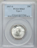 Standing Liberty Quarters: , 1917-S 25C Type One MS63 PCGS. PCGS Population (94/168). NGCCensus: (30/110). Mintage: 1,952,000. Numismedia Wsl. Price fo...