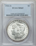 Morgan Dollars: , 1921-S $1 MS65 PCGS. PCGS Population (761/31). NGC Census:(746/55). Mintage: 21,695,000. Numismedia Wsl. Price for problem...