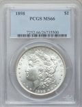 Morgan Dollars: , 1898 $1 MS66 PCGS. PCGS Population (597/35). NGC Census: (493/16).Mintage: 5,884,735. Numismedia Wsl. Price for problem fr...
