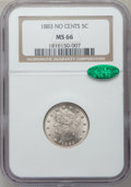 Liberty Nickels: , 1883 5C No Cents MS66 NGC. CAC. NGC Census: (464/59). PCGSPopulation (359/16). Mintage: 5,479,519. Numismedia Wsl. Price f...