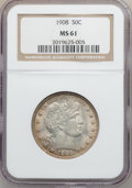 Barber Half Dollars: , 1908 50C MS61 NGC. NGC Census: (12/98). PCGS Population (8/121).Mintage: 1,354,545. Numismedia Wsl. Price for problem free...