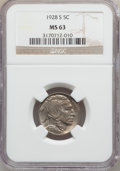 Buffalo Nickels: , 1928-S 5C MS63 NGC. NGC Census: (134/304). PCGS Population(220/419). Mintage: 6,936,000. Numismedia Wsl. Price for problem...
