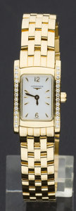 Timepieces:Wristwatch, Longines Lady's 18k Gold & Diamond New Condition Wristwatch, Box & Papers, 58.3 Grams. ...