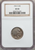 Buffalo Nickels: , 1921-S 5C XF45 NGC. NGC Census: (32/306). PCGS Population (56/467).Mintage: 1,557,000. Numismedia Wsl. Price for problem f...
