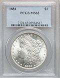 Morgan Dollars: , 1881 $1 MS65 PCGS. PCGS Population (929/84). NGC Census: (628/52).Mintage: 9,163,975. Numismedia Wsl. Price for problem fr...