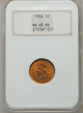 Indian Cents: , 1902 1C MS65 Red NGC. NGC Census: (113/112). PCGS Population(134/54). Mintage: 87,376,720. Numismedia Wsl. Price for probl...