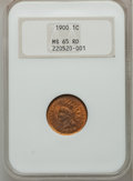 Indian Cents: , 1900 1C MS65 Red NGC. NGC Census: (92/40). PCGS Population(159/78). Mintage: 66,833,764. Numismedia Wsl. Price for problem...